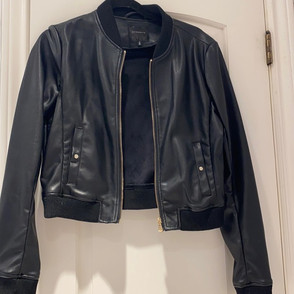 Dynamite Cropped leather jacket with pockets